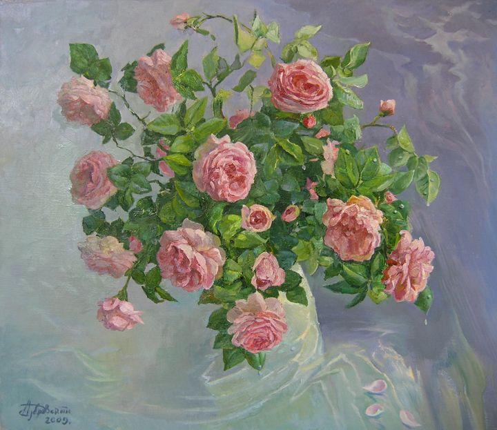 Pink Roses Painting - Aleksandr Dubrovskyy