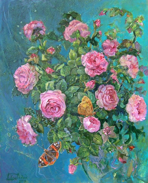 Roses and Butterflies - Aleksandr Dubrovskyy