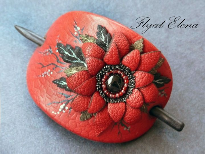 Hairpin for hair, Leather - HFJewelleryShop
