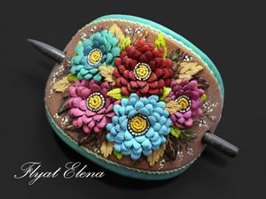 Hairpin for hair leather with chrysa - HFJewelleryShop