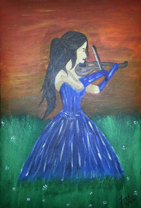 Girl Playing Violin - Fred Ferns