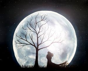 Woman in moonlight