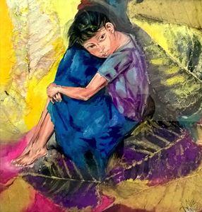 Cuddling Her Sorrow- Original Art