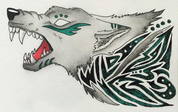 Tribal Wild Wolf - Green Lamb