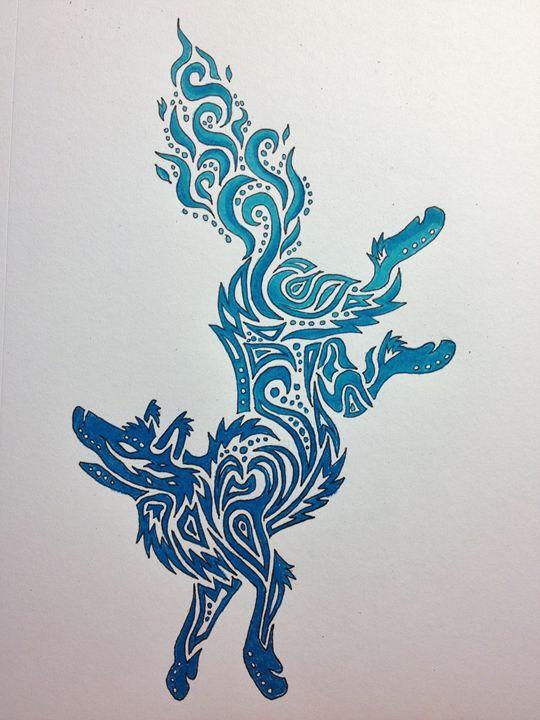 Tribal Blue Falling Wolf - Green Lamb