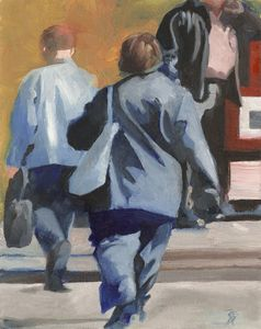 Pedestrians in Blue