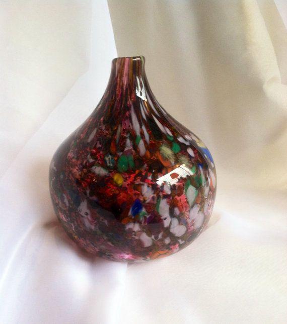 Southwest Hand Blown Art Glass Gourd - Molten Color Hand Blown Glass Art