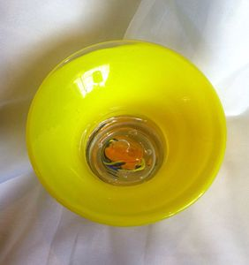 Summery Hand Blown Art Glass Bowl