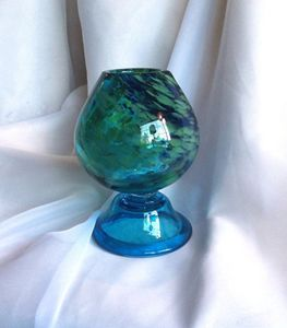 Footed Peacock Bowl Art Glass