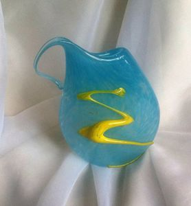 Abstract Turquoise Art Glass Vase