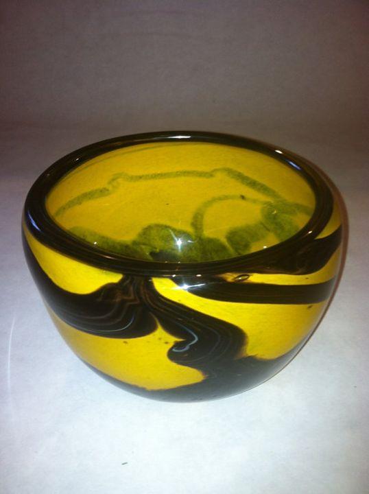 Fall Harvest Hand Blown Glass Bowl - Molten Color Hand Blown Glass Art