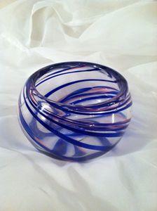 Spiral Ribbon Cane Bowl - Molten Color Hand Blown Glass Art