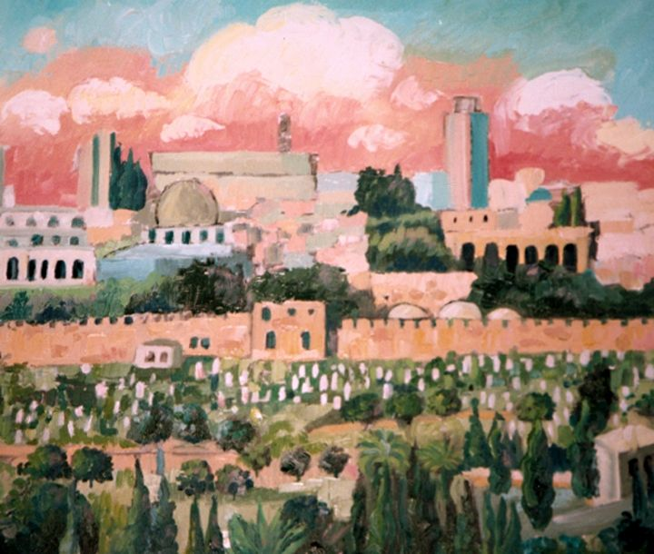 Jerusalem pink skies - Eva Deutsch Art