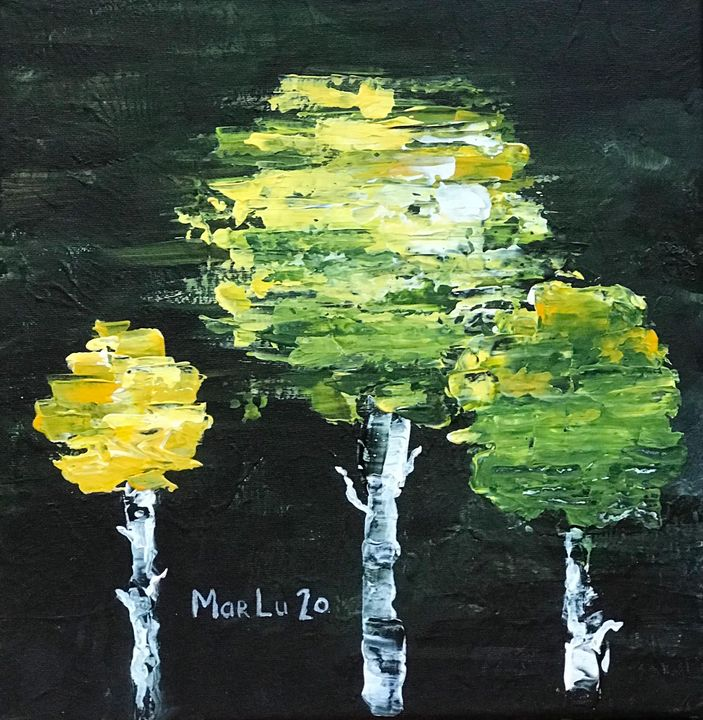 Two green trees with a yellow friend - MarLuArt