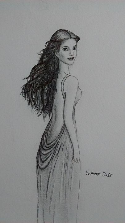 Cute Girl - Summer Sketching