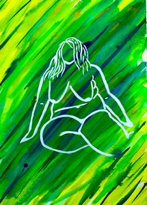 Silhouette of a Woman in White Green