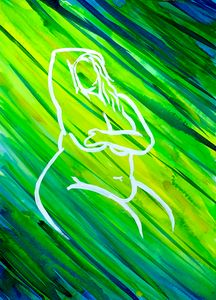 Silhouette of a Woman Yellow Green