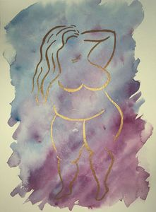 Bronze Babe on Blue and Magenta