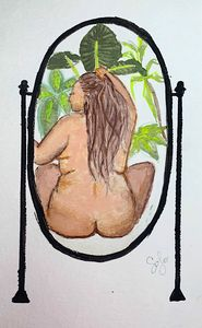Woman in Mirror with Plants