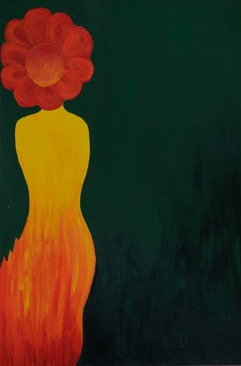 Symbiosis between flower and fire - Maia Sinkevici art