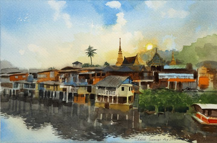 Traditional village along a river - Chotvich Suwongs