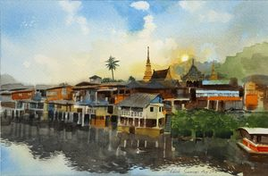 Traditional village along a river