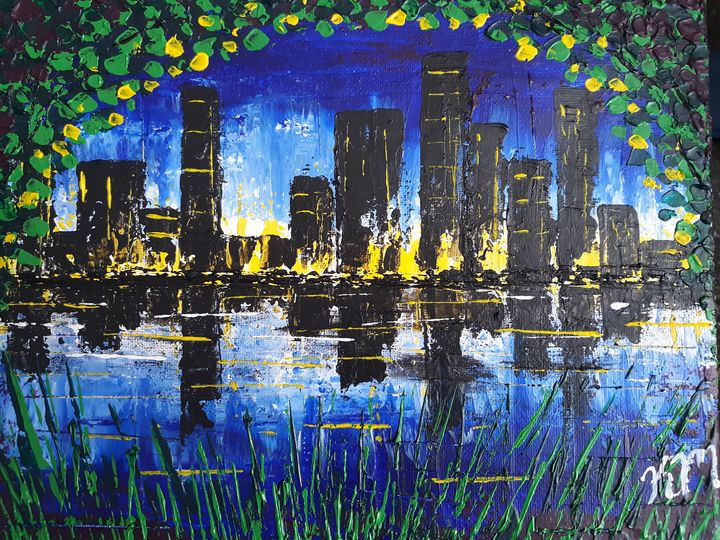 A Peek At The City Lights - Canvas by Kim