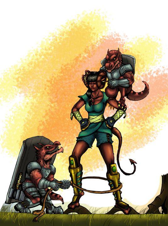 Kobolds teasing a Tiefling - stonewolfdf