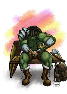 Brokar, the artisan barbarian Orc
