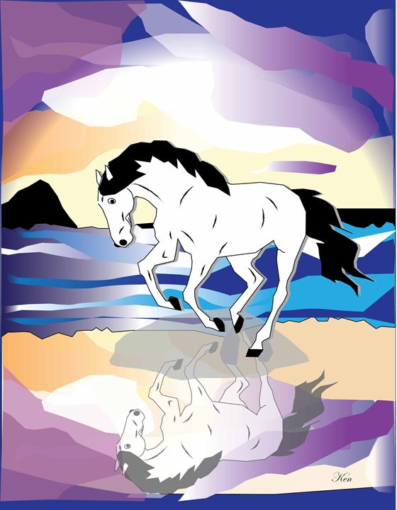 Horse and Cloud - Kenneth Leon Roberts - Digital Art