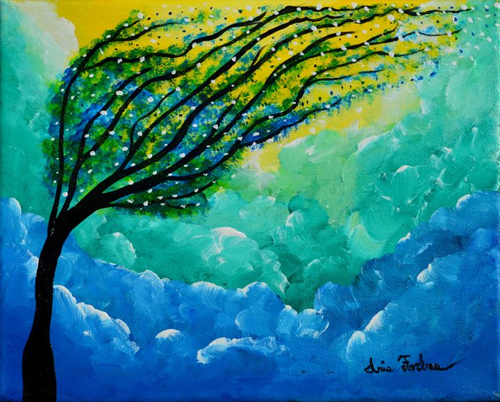 Fluffy blues - Simplicity of Art by Iris Forbes