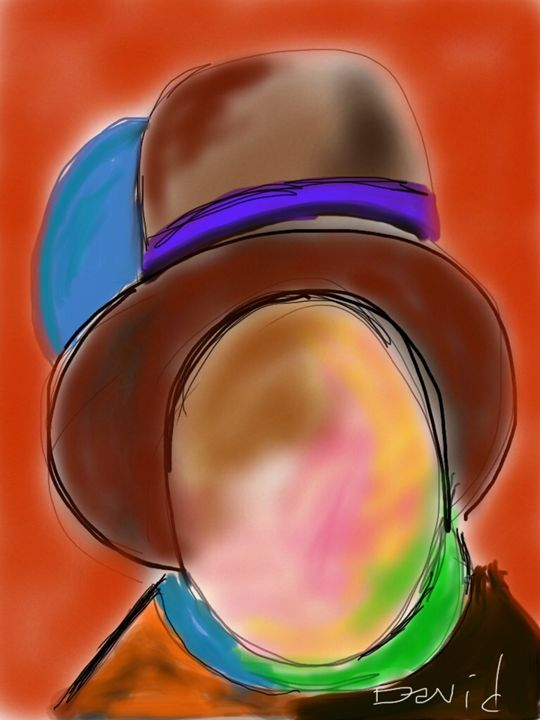 Man In A Brown Hat - DavidMartinArt