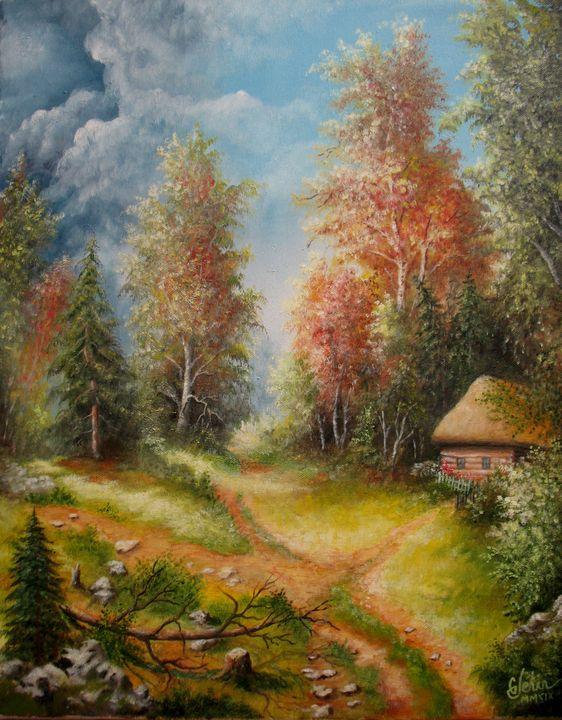 A cottage in an autumn evening - Gérard JEHIN