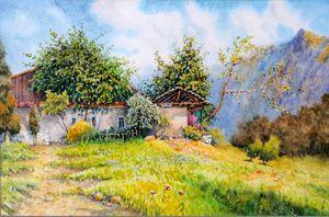 Original watercolor painting Village