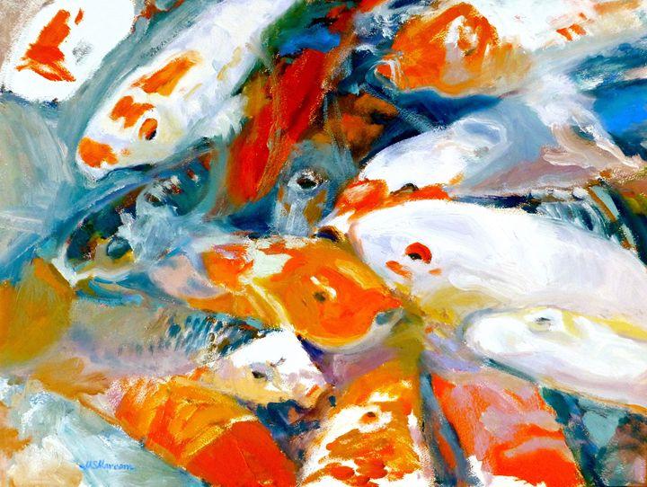 Koi Frenzy - Marcom Oil Paintings