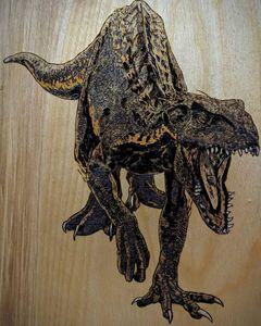 "Indoraptor - 8""x10"" Woodburned"
