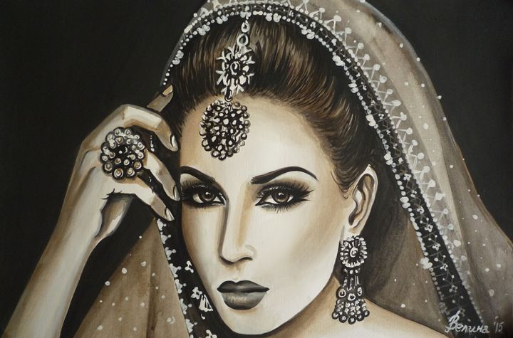 Indian woman - Velina Daskalova Art