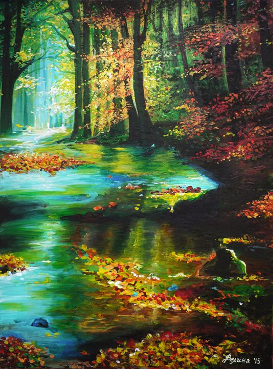 Autumn in forest - Velina Daskalova Art