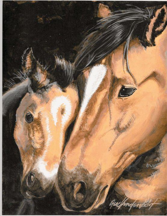 Cuddling with Mom - Gene Vandervoort Fine Art