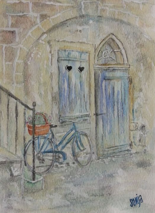 Street scene with blue bicycle - Sonja Peacock