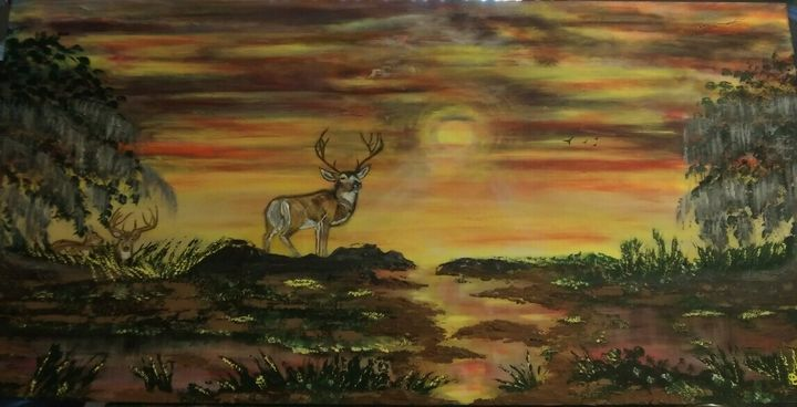 Deer in Sunset, Original Landscape - Artist Diane Russo....Creek Road Gallery