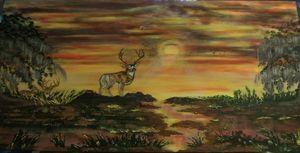Deer in Sunset, Original Landscape