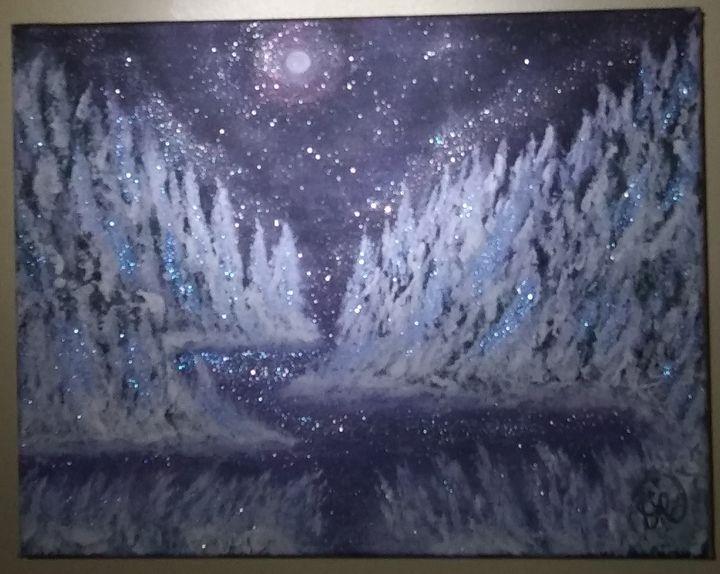 Snow Trees Original Landscape - Artist Diane Russo....Creek Road Gallery