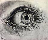 Charcoal eyeball drawing