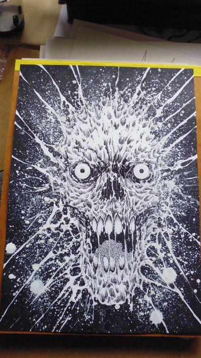 Exploding skull artwork - Wayne Tully Horror Art