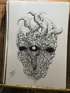One Eyed Demon Ink Drawing
