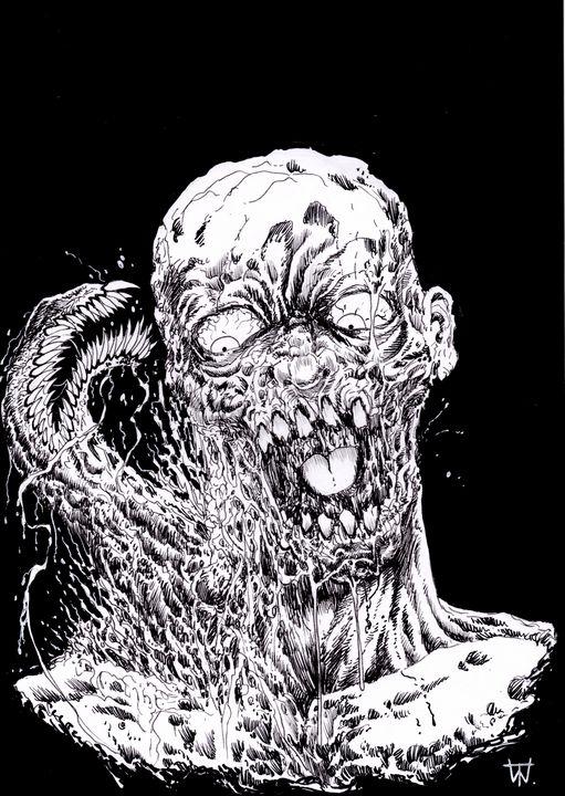 Zombie Parasite - Wayne Tully Horror Art