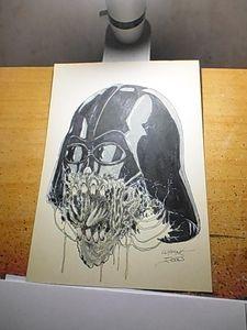 Darth Vader Zombie Head Original Art
