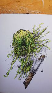 Toxic Green Skull Axe Smash