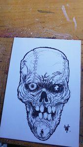 Frankenstein Horror Skull Art